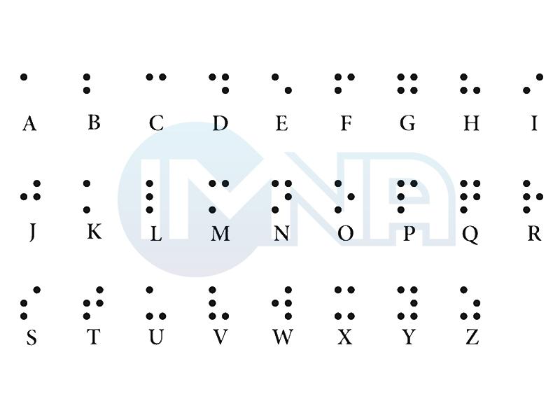 حروف انگلیسی خط بریل